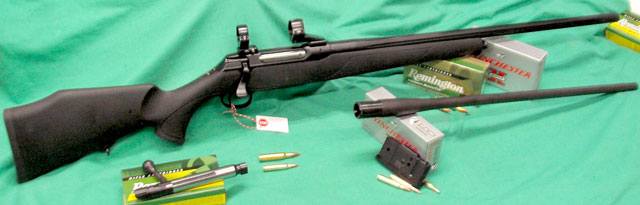 Saur in 308 Win with Interchangable Bolt Magazines and Barrel in 223 R.