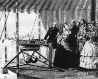 Queen Victoria opening the Range by fireing the first shot using a Whitworth Rifle.