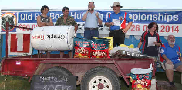 MP David Gibson MP & Cr Shane Jocomsen presents Prizes at the Queensland Big Boar Hunting Championships 2014