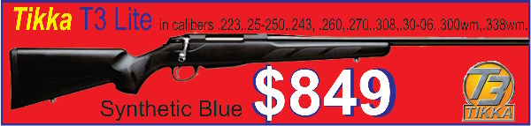 With the Australian Dollar going down like a falling stone we will never see Tikka T3 Lite rifles at these prices again. If you want a Tikka buy one now. $849 plus freight.