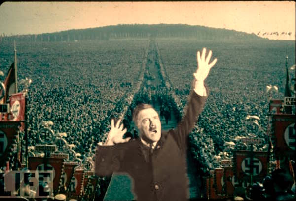Nuernberg Rally 1937 A million people came to hear Hitler's oratory, he appealed to their hopes and dreams, but cleverly twisted historic facts into a fiction that seemed like reality. Jim Jefferies repeats a fiction and calls it fact. Same operation with a more arrogant approach.
