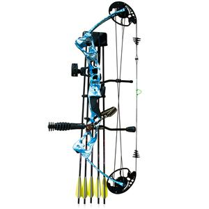 Vulture 55lb Right hand blue bow package includes compact bow, stabilizer, wrist strap, bow quiver, 5 pin sight and bag $ 485.00