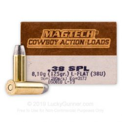 Magtech Cowboy Load 38 spl 125gr Lead flat nose brass cartridge Box of 50 $ 39.60