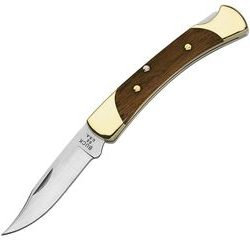 Old Timer drop point spine lock blade with timber and brass scales and leather pouch $ 78.30