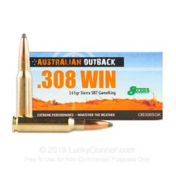 Outback .308 165gr Sierra Game king ammo Box of 20 $ 41.75