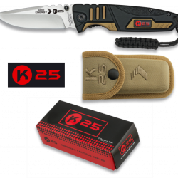 K 25 single 75mm side locking drop point folding knife with pouch $ 61.25