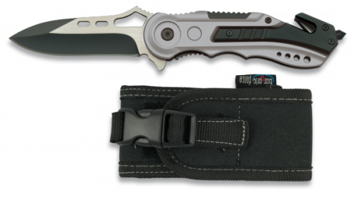Albainox 78mm Single Side locking drop point blade with glass breaker and seatbelt cutter and synthetic pouch $ 46.50