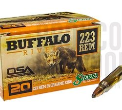 Buffalo River 223rem 55gr Sierra game king softpoint non crimped single flash hole ammo box of 20 $ 21.40