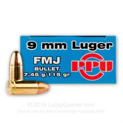 PPU 9mm luger 9 x19 124gr lead round nose single flash hole reloadable brass ammo Box of 50 $ 32.50