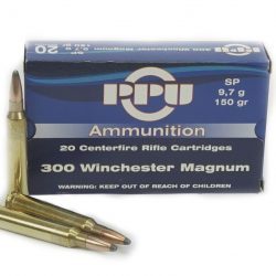 PPU 300 Win mag 150gr flat base soft point single flash hole brass ammo Box of 20 $ 32.95
