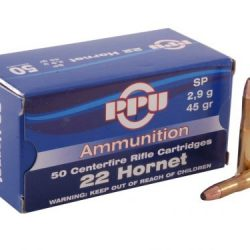 PPU 22 Hornet 45gr soft point ammo single flash hole box of 50 $ 37.75