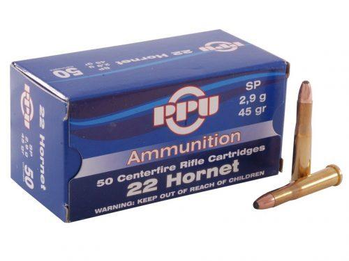 PPU 22 Hornet 45gr soft point ammo single flash hole box of 50 $ 37.75