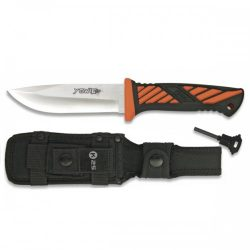 Rui K 25 Yowie 100mm Semi Drop Point Back locking folding knife with orange and black plastic scales synthetic pouch with ferro rod $ 56.25