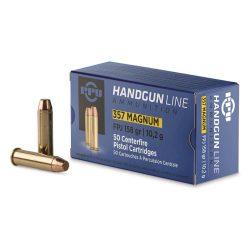 PPU 357 Magnum 158gr soft jacketed hollow point brass cartiridge single flash ammo Box of 20 $ 34.65