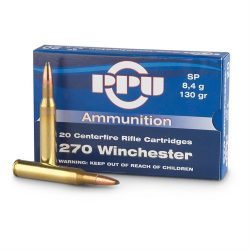 PPU 270Win 130gr Soft point non crimped single flash hole ammo Box of 20 $ 31.80