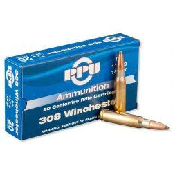 PPU 308win 150gr flat base soft point ammo brass single flash hole ammo Box of 20 $ 24.95