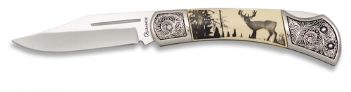 Albainox deer print scrimshaw style line locking silver bolster $ 26.30