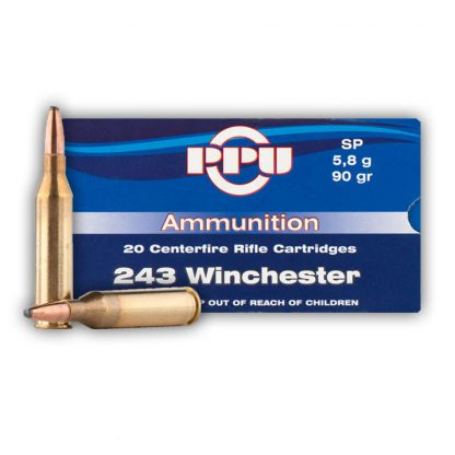 PPU 243 Winchester90gr soft point single flash hole brass box of 20 $ 28.85