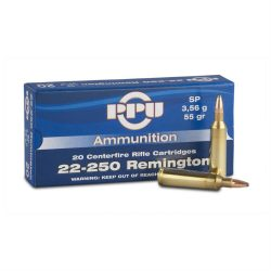 PPU 22-250 55gr flat base soft point ammo single flash hole brass box of 20 $ 23.40