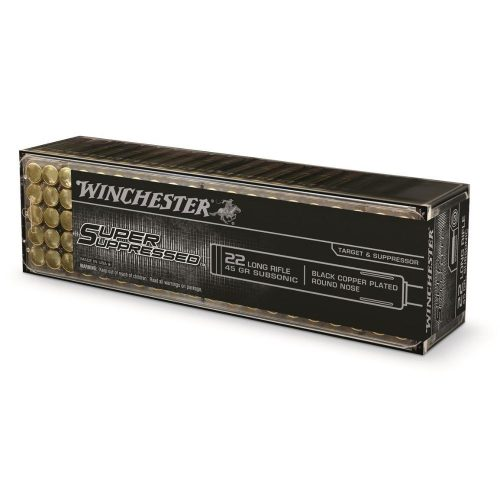 Winchester 22lr super supressed 45gr Solid 1090 fps black copper platted subsonic ammo Box of 100 $ 11.70
