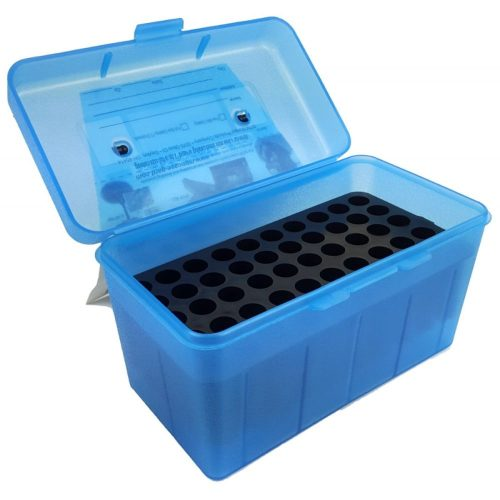 MTM 50 round ammo Box to suit belted magnum size cartridges blue $ 10.00