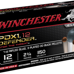 Winchester 12ga 2-3 4in Defender 1oz Rifled Slug with 3 plated OO Buck shot pellets 1150fps Box of 10 $ 21.10