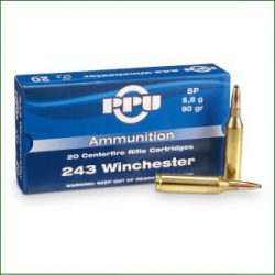 PPU 243 Winchester 90gr Soft point single flash hole brass Box of 20 $ 32.85