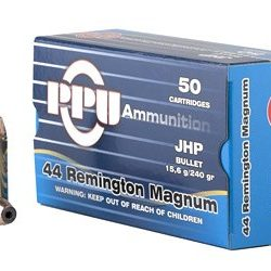 PPU 44 Remington Magnum 240gr Jacketed hollow point single flash hole brass Box of 50 $ 64.25