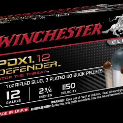 Winchester 12ga 2-3 4in defender 1oz rifled slug with 3 plated OO Buck shot pellets 1150fps Box of 10 $ 23.75