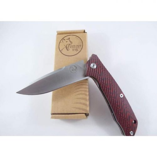 Tassie Tiger Knives red scales 90mm single side locking knife with pocket clip $ 60.00